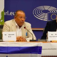 Palestinian human rights activist Bassem Eid addresses the European Parliament on September 5, 2018. (screen capture: YouTube)