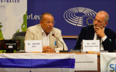 Palestinian human rights activist Bassem Eid addresses the European Parliament on September 5, 2018. (screen capture: YouTube)