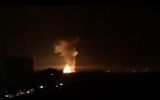 Explosions seen in the Syrian city of Latakia after an attack on a military facility nearby on September 17, 2018. (Screen capture: Twitter)