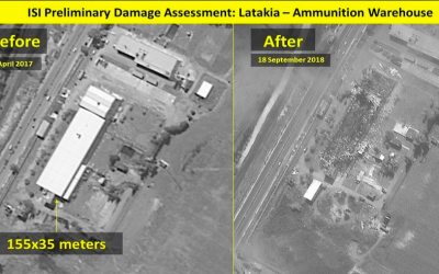 A before and after photo of an ammunition warehouse which was destroyed in an Israeli airstrike on a Syrian base in Latakia, September 18, 2018 (ImageSat International (ISI/Ynet)