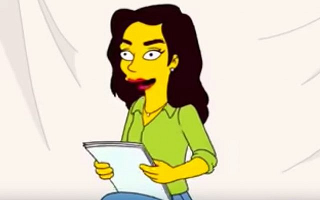 Gal Gadot on the 30th season premiere of the Simpsons airing on September 30, 2018. (Screen capture/YouTube)