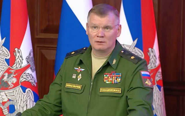 A Russian military official gives a briefing on the downing of an IL-20 military plane near Syria on September 23, 2018. (Screen capture: Russia Today)