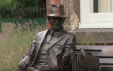 A statue of Frank Foley, a British spy who helped save thousands of Jews from the Nazis during the Holocaust at its unveiling on September 18, 2018. (screen capture: YouTube)