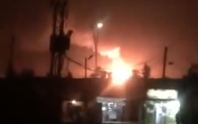 Illustrative. An explosion reportedly caused by an Israeli strike is seen at the Mazzeh military base near Damascus, Syria, on September 2, 2018. (Screen capture: Twitter)