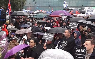 British Jews protest against anti-Semitism in Manchester, September 16, 2018 (screen capture: YouTube)