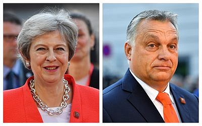 Composite photo of Hungarian Prime Minister Viktor Orban, and British Prime Minister Theresa May, at the informal EU summit in Salzburg, Austria, Thursday, September 20, 2018. (AP Photo/Kerstin Joensson)