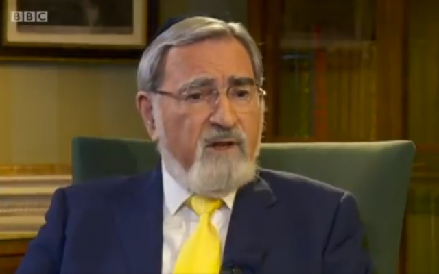 Former UK Chief Rabbi Jonathan Sacks in an interview with BBC on September 2, 2018. (Screenshot: Twitter)