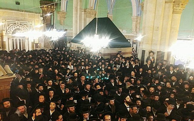 Thousands of religious Jews visit the Tomb of the Patriarchs holy site in the West Bank city of Hebron on September 17, 2018. (Israel Defense Forces)