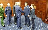 Israeli Air Force chief Amikam Norkin, center-right, meets with Russian officials in Moscow on September 20, 2018. (Israel Defense Forces)