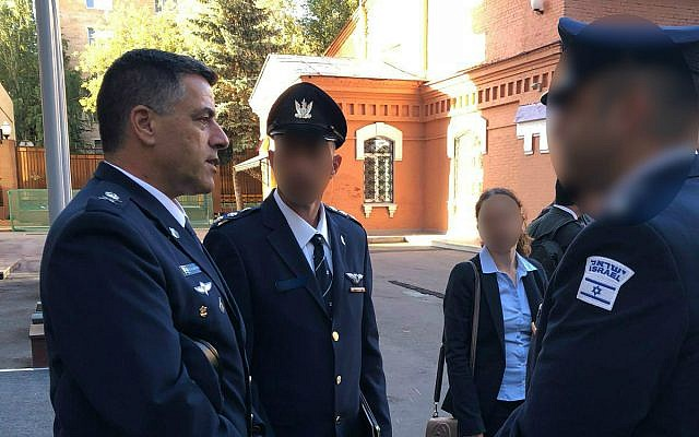 Israeli Air Force chief Amikam Norkin, left, leads a military delegation to Moscow on September 20, 2018. (Israel Defense Forces)