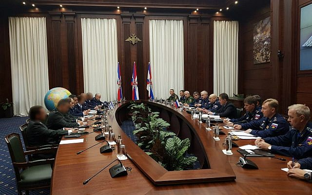 An Israeli military delegation meets with Russian officials in Moscow on September 20, 2018. (Israel Defense Forces)