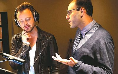 "Raphael Bob-Waksberg, right, in studio with ""BoJack Horseman"" actor Aaron Paul. (Netflix via JTA)"