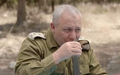 IDF Chief of Staff Gadi Eisenkot drinks coffee during an interview, September 6, 2018 (Facebook video screenshot)