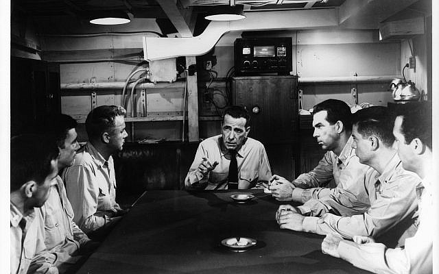 Humphrey Bogart, center, in a scene from the 1954 film 'The Caine Mutiny.' (Columbia Pictures/Getty Images, via JTA)