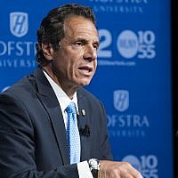 New York Governor Andrew Cuomo at a primary debate at Hofstra University in Hempstead, New York, August 29, 2018. (Craig Ruttle-Pool/Getty Images)