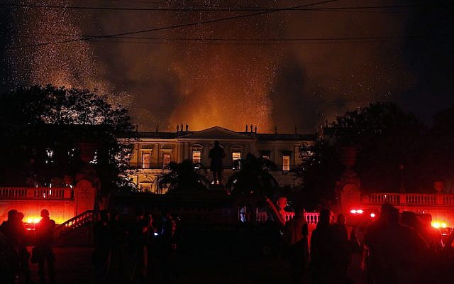 A view of the fire at Brazil's National Museum, September 2, 2018. (Tania Rego/Agencia Brasil via JTA)