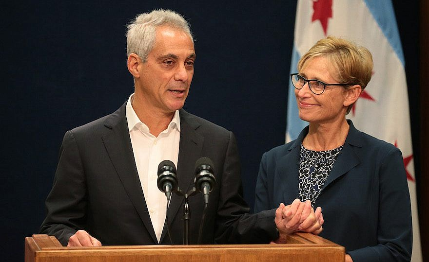 With wife Amy Rule by his side, Chicago Mayor Rahm Emanuel announces  Tuesday, September