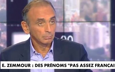 French Jewish historian Eric Zemmour appears on television September 20, 2018. (Screen capture: YouTube)