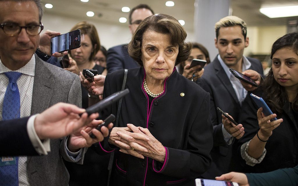 dianne feinstein s senate career comes full circle with kavanaugh allegations the times of israel dianne feinstein s senate career comes