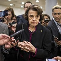 Democratic Senator Dianne Feinstein of California speaks to the media in Washington, DC, on September 27, 2018. (Zach Gibson/Getty Images)