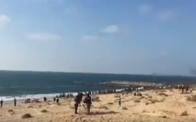 Palestinians protest at a beach in northern Gaza, September 10, 2018 (Screenshot: Twitter video)
