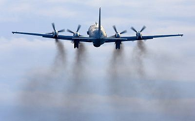 An Ilyushin Il-20M reconnaissance plane takes off at Kubinka air force base near Moscow, Russia, on February 19, 2014. (Artyom Anikeev/iStock/Getty Images)