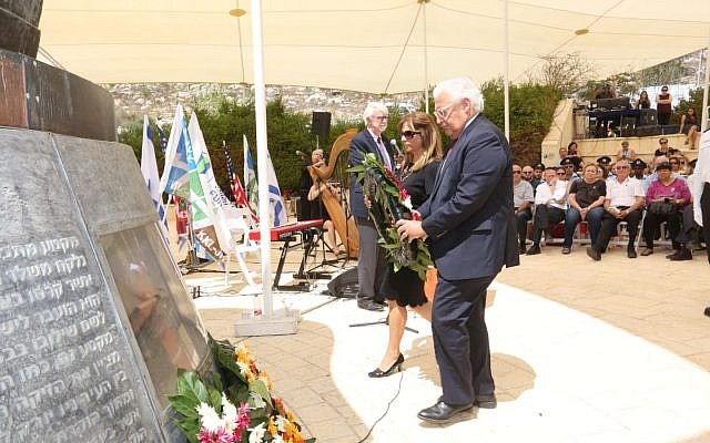 US Ambassador to Israel David Friedman and his wife Tammy lay a wreath in memory of those who perished in the 9/11 attacks, at a ceremony marking 17 years to the attacks at Jerusalem's 9/11 memorial, September 6, 2018. (Yossi Zamir, KKL-JNF Photo Archive)
