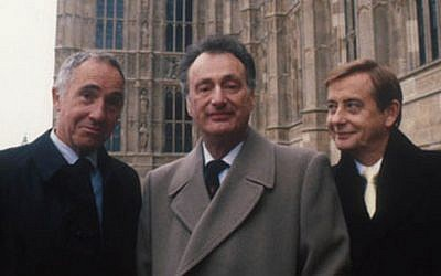 The stars of 1980s sitcoms 'Yes Minister' and 'Yes, Prime Minister' outside Parliament, with Nigel Hawthorne (Sir Humphrey Appleby) at left and Paul Eddington (Jim Hacker) center. (Courtesy BBC)