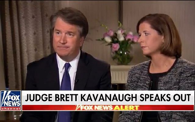 Supreme Court nominee Brett Kavanaugh (l) and his wife Ashley interviewed by Fox News on September 24, 2018. (Screen capture: YouTube)