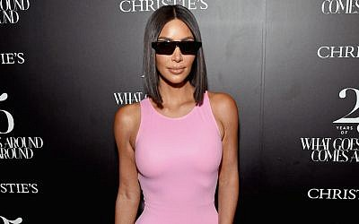Kim Kardashian at a Christie's auction preview in Beverly Hills, Calif., Aug. 21, 2018. (Michael Kovac/Getty Images for What Goes Around Comes Around)