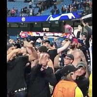 A Lyon fan making a Nazi salute at a game in Manchester, England, Sept. 19, 2018. (Screenshot from Twitter via JTA)