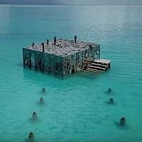 The Sculpture Coralarium by Jason deCaires Taylor on the island resort of Fairmont Sirru Fen Fushi in the Maldives. screen capture: YouTube)
