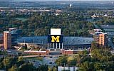 An aerial view of Michigan Stadium as the sun rises on the University of Michigan campus. (University of Michigan/Flickr via JTA)