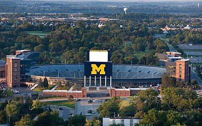 An aerial view of Michigan Stadium as the sun rises on the University of Michigan campus. (University of Michigan/Flickr via JTA)
