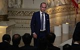 Stephen Miller arriving before the start of a news conference by US President Donald Trump and Japanese Prime Minister Shinzo Abe at Mar-a-Lago resort in West Palm Beach, Florida, April 18, 2018. (Joe Raedle/Getty Images)