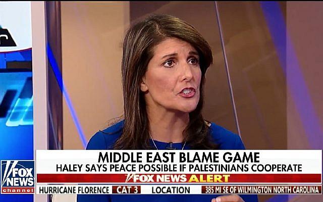 US Ambassador to the UN Nikki Haley speaks on Fox News on September 12, 2018. (Screen capture: Fox News)