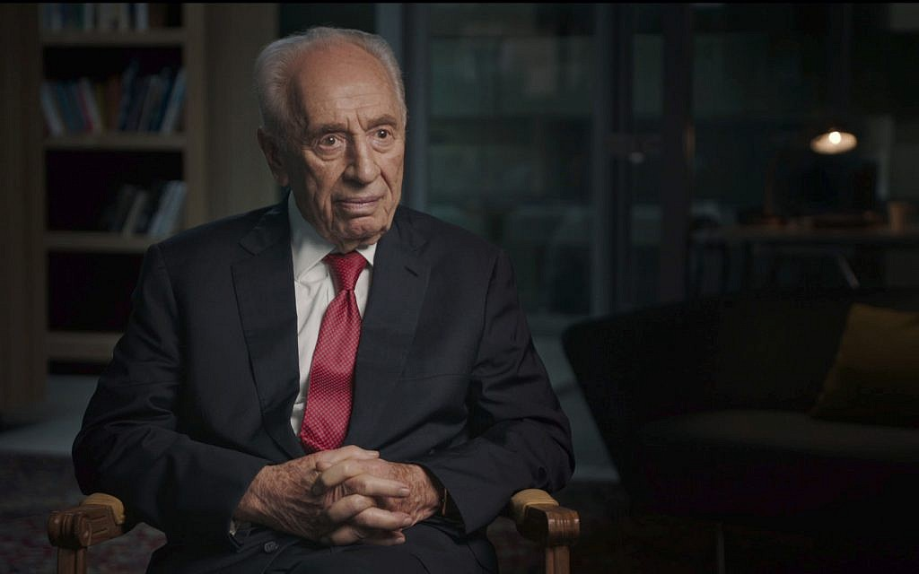 President Shimon Peres in what is likely his final interview, in HBO's 'The Oslo Diaries.' (Courtesy of HBO)