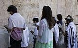 File: Conservative Jews praying at Robinson's Arch in Jerusalem, July 30, 2014. (Robert Swift/Flash90/via JTA)