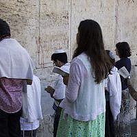 Conservative Jews praying at Robinson's Arch in Jerusalem, July 30, 2014. (Robert Swift/ Flash90/ via JTA/ File)