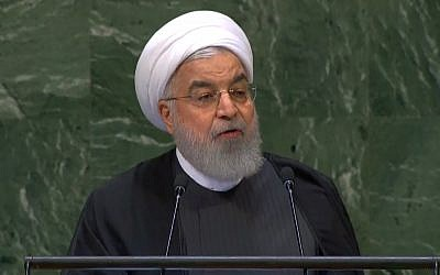 Iranian President Hassan Rouhani addresses the United Nations General Assembly in New York on September 25, 2018 (screenshot: YouTube)