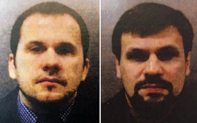 Alexander Petrov, left, and Ruslan Boshirov, right, were charged by British prosecutors with the nerve agent poisoning of ex-spy Sergei Skripal and his daughter Yulia in the English city of Salisbury (Metropolitan Police)