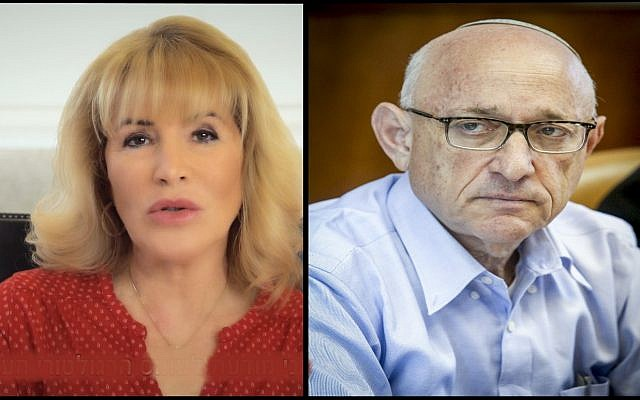 Head of the Institute of Certified Public Accountants in Israel Iris Shtark in July 2018; and Israeli National Security Adviser Yaakov Nagel on September 18, 2016. (Screen capture: YouTube/ Marc Israel Sellem/POOL)