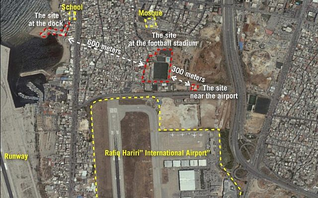 A satellite image released by the Israel Defense Forces showing three sites near Beirut's international airport that the army says are being used by Hezbollah to convert regular missiles into precision-guided munitions, on September 27, 2018. (Israel Defense Forces)
