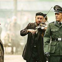 "Christopher Lambert, right, portraying a German Nazi officer in ""Sobibor."" (Courtesy of Rosiya Segondiya via JTA)"