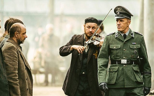 "Christopher Lambert, right, portraying a German Nazi officer in ""Sobibor."" (Courtesy of Rosiya Segondiya via JTA)"