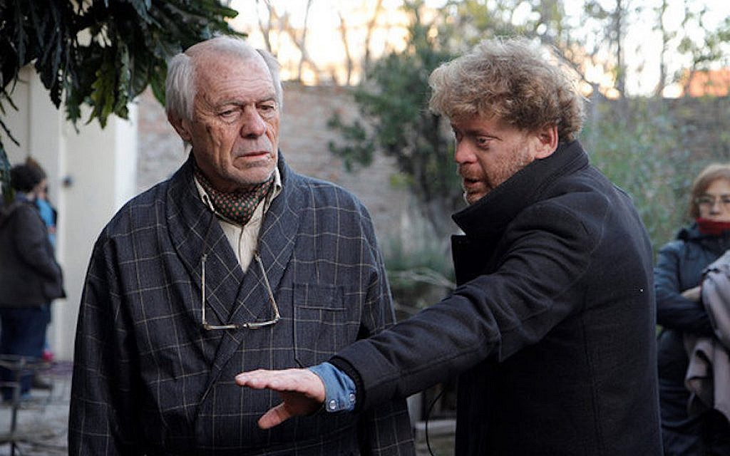 Pablo Solarz, right, directs Manuel Angel Sola in 'The Last Suit.' (Outsider Pictures/via JTA)