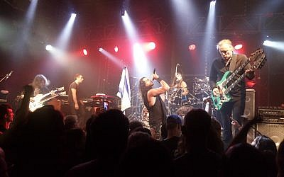 US rock supergroup 'Sons of Apollo' plays in Tel Aviv on September 26, 2018. (David Sedley/Times of Israel)