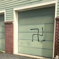 A swastika painted on  the home of a supporter of New Jersey Congressman Josh Gottheimer, September 2018. (Courtesy)