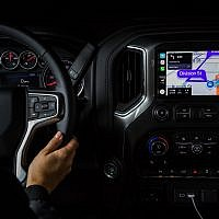 An image of the Waze app integrated on the Apple CarPlay of a Chevrolet Silverado vehicle (Courtesy)