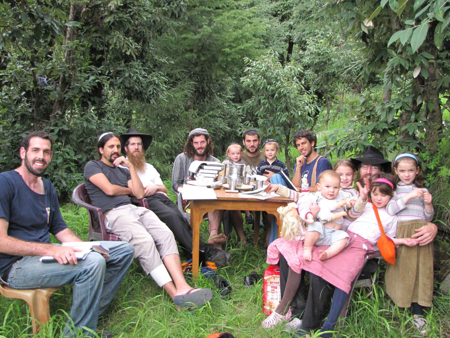 Rabbi Dror Shaul with students on a yeshiva program in one of his Chabad houses near Dharamshala. (Courtesy)